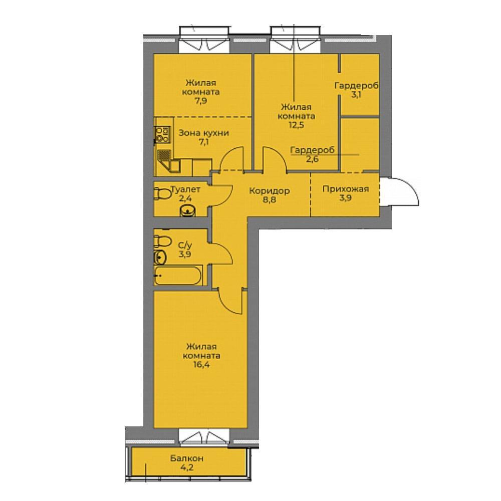 Планировка 3-комн. студия площадью 68.6 м<sup>2</sup> в ЖК Эскимо