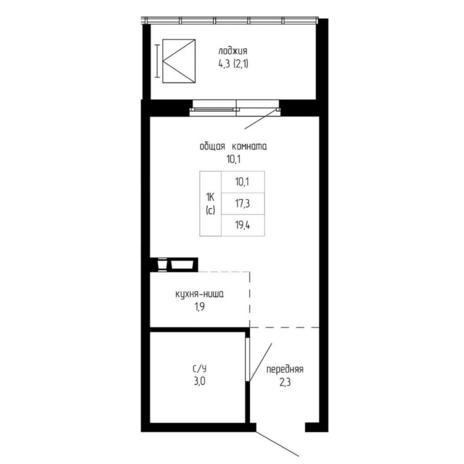 Вариант №5200, 1-комнатная квартира в жилом комплексе