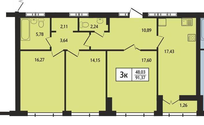 Планировка 4-комн. студия площадью 91.37 м<sup>2</sup> в ЖК Статус