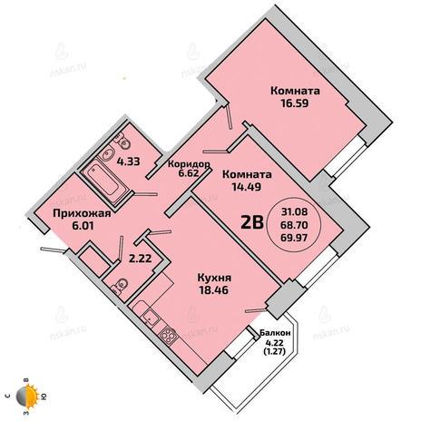 Вариант №1955, 3-комнатная квартира в жилом комплексе