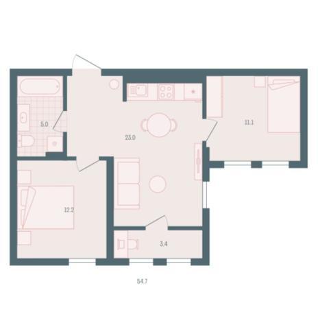 Вариант №5943, 2-комнатная квартира в жилом комплексе