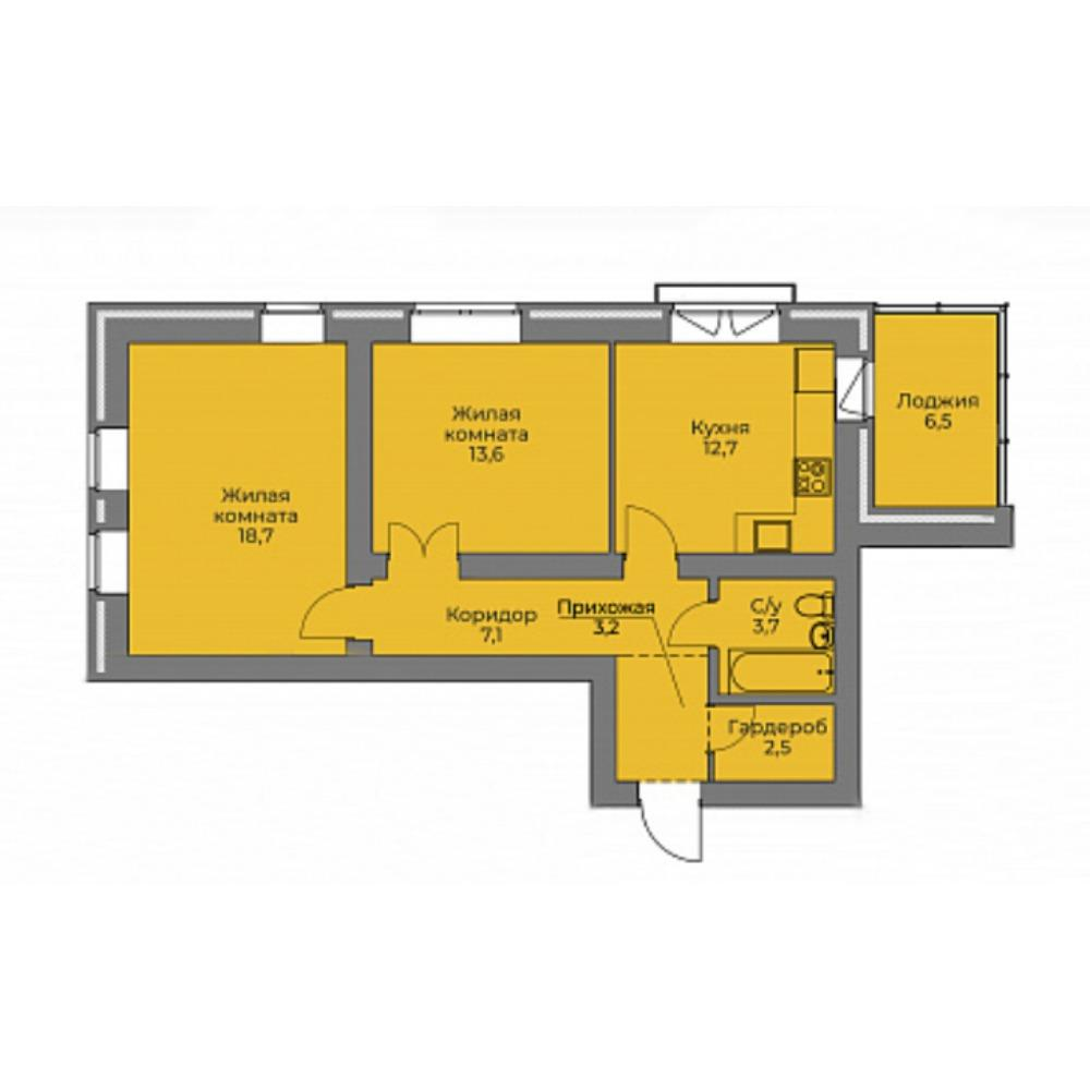 Планировка 2-комнатная площадью 61.5 м<sup>2</sup> в ЖК Эскимо