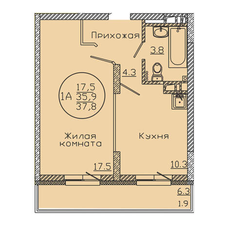 Вариант №3185, 1-комнатная квартира в жилом комплексе