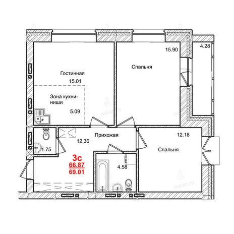 Вариант №1015, 3-комнатная квартира в жилом комплексе Маковского