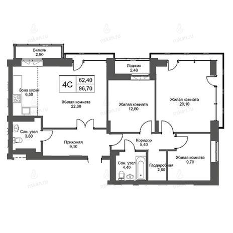 Вариант №2753, 4-комнатная квартира в жилом комплексе