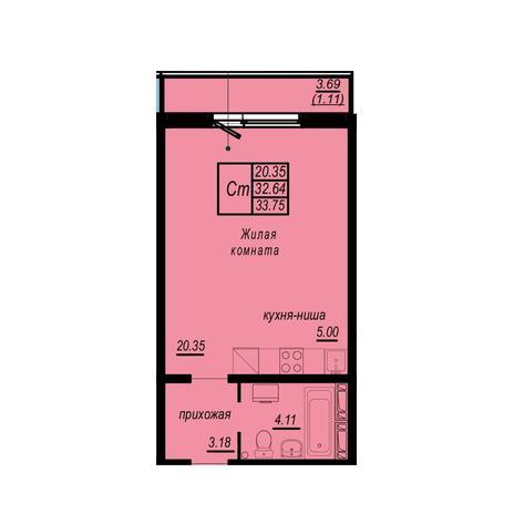 Вариант №4949, 1-комнатная квартира в жилом комплексе