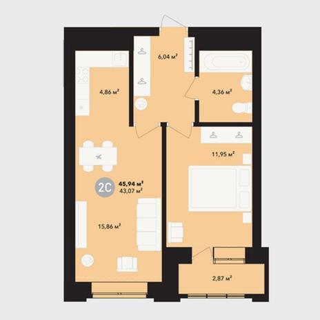 Вариант №5220, 2-комнатная квартира в жилом комплексе