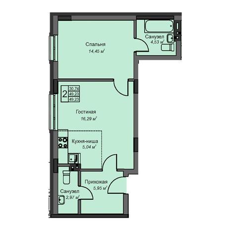 Вариант №3073, 2-комнатная квартира в жилом комплексе