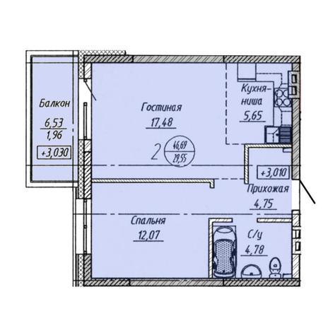 Вариант №3204, 2-комнатная квартира в жилом комплексе Облака
