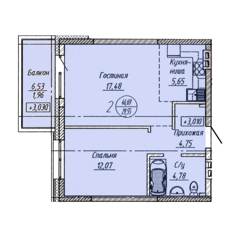 Планировка 2-комн. студия площадью 46.69 м<sup>2</sup> в ЖК Облака