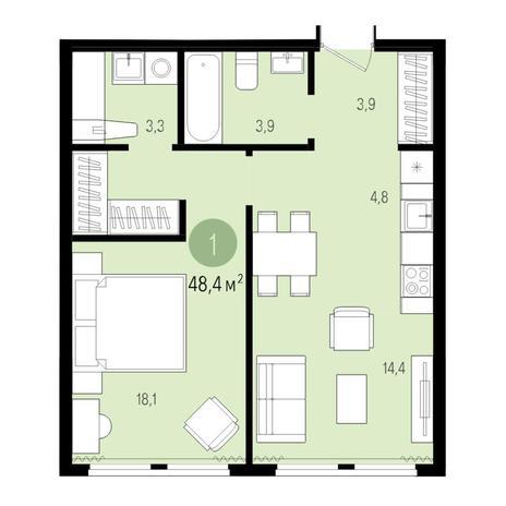 Вариант №4992, 2-комнатная квартира в жилом комплексе Аквамарин