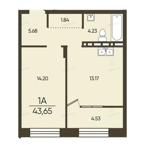 Вариант №2571, 1-комнатная квартира в жилом комплексе Революция