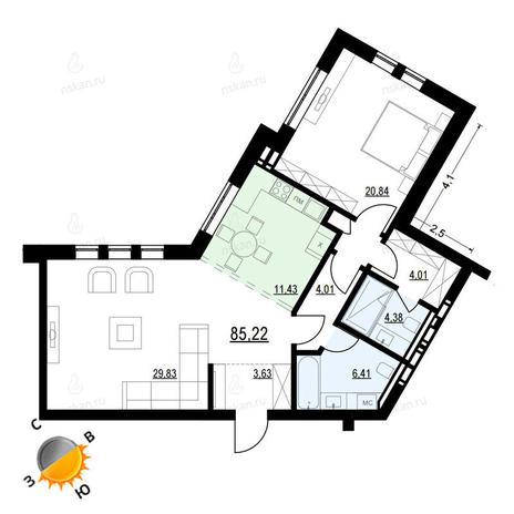 Вариант №909, 2-комнатная квартира в жилом комплексе