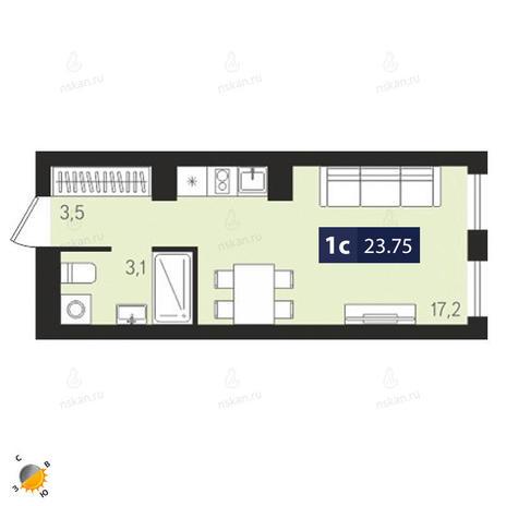 Вариант №1871, 1-комнатная квартира в жилом комплексе Европейский Берег