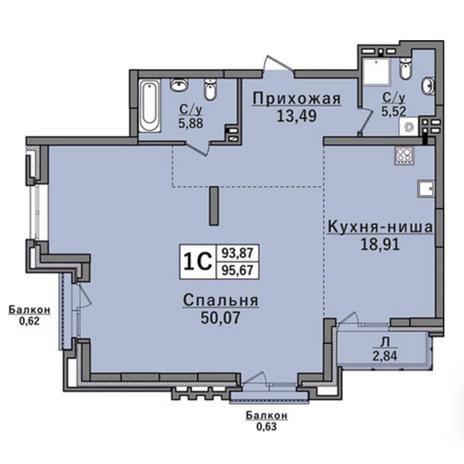 Вариант №2922, 4-комнатная квартира в жилом комплексе Классик (Classic)