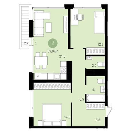 Вариант №4349, 3-комнатная квартира в жилом комплексе