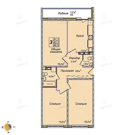 Вариант №2386, 3-комнатная квартира в жилом комплексе