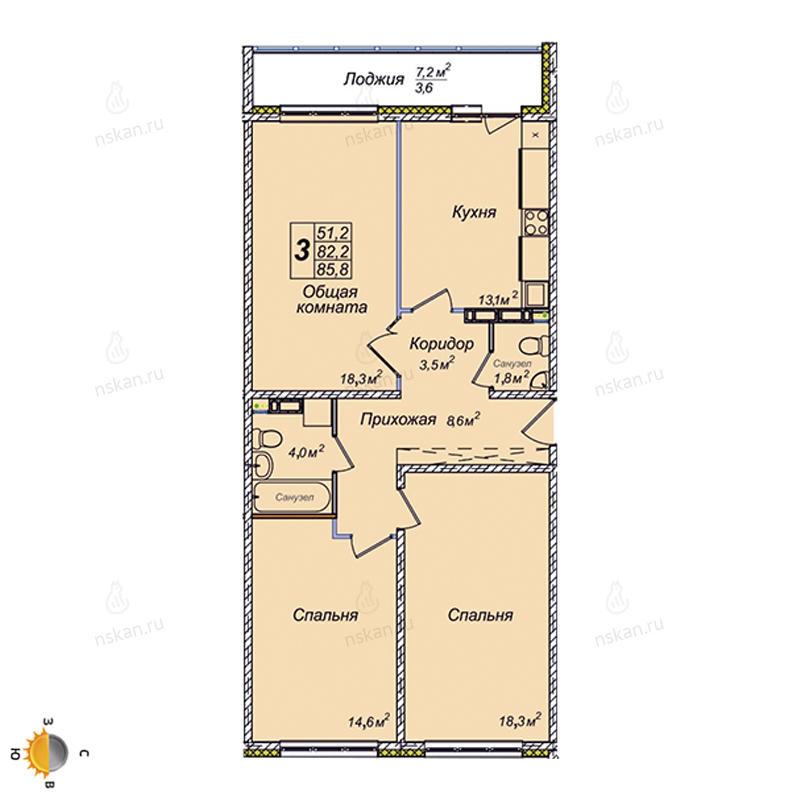 Планировка 3-комнатная площадью 85.8 м<sup>2</sup> в ЖК Венеция