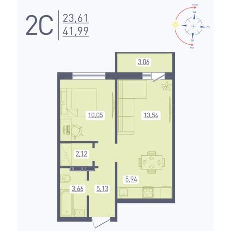 Вариант №5569, 2-комнатная квартира в жилом комплексе