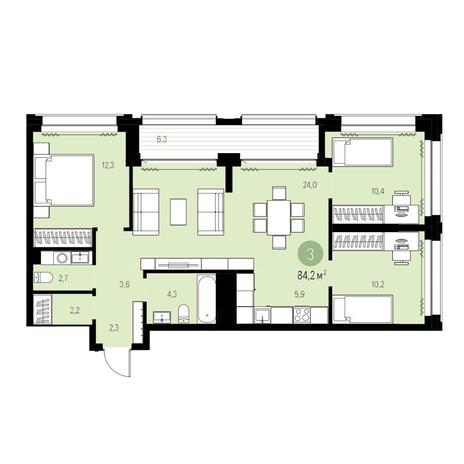 Вариант №5448, 4-комнатная квартира в жилом комплексе Авиатор