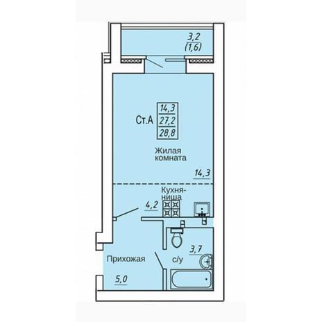 Вариант №4313, 1-комнатная квартира в жилом комплексе Акварельный 3.0