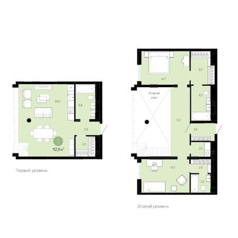 Вариант №6039, 3-комнатная квартира в жилом комплексе