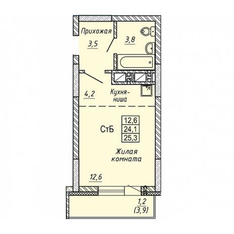 Вариант №5652, 1-комнатная квартира в жилом комплексе