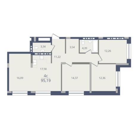 Вариант №6051, 4-комнатная квартира в жилом комплексе