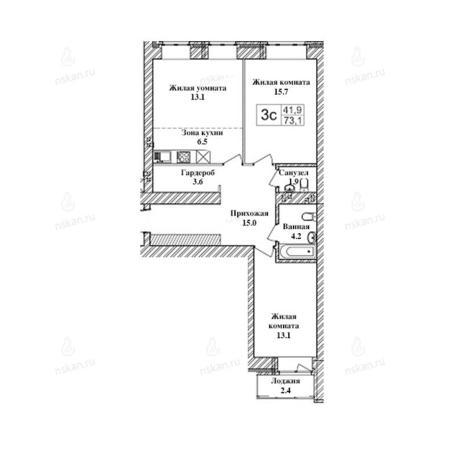 Вариант №2467, 3-комнатная квартира в жилом комплексе Заельцовский