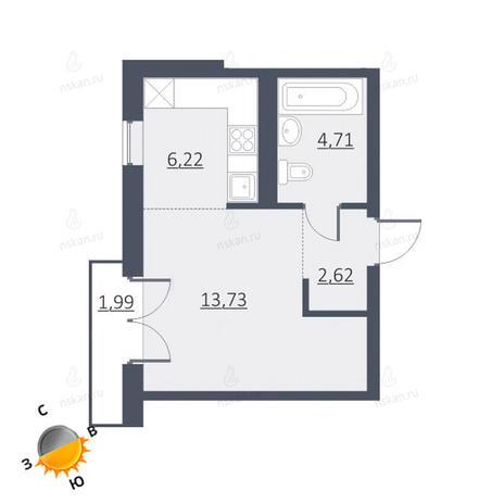 Вариант №1650, 1-комнатная квартира в жилом комплексе Дунаевский