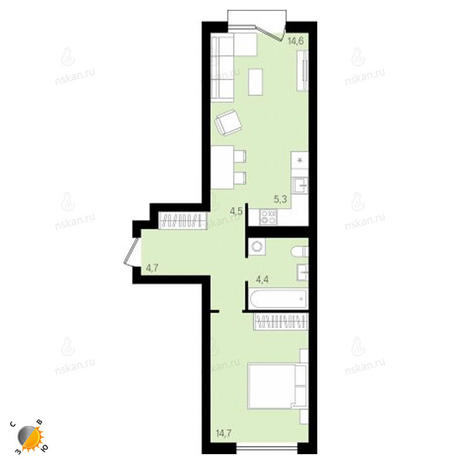 Вариант №2161, 2-комнатная квартира в жилом комплексе На Декабристов