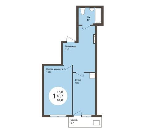 Вариант №4856, 1-комнатная квартира в жилом комплексе Ясный берег
