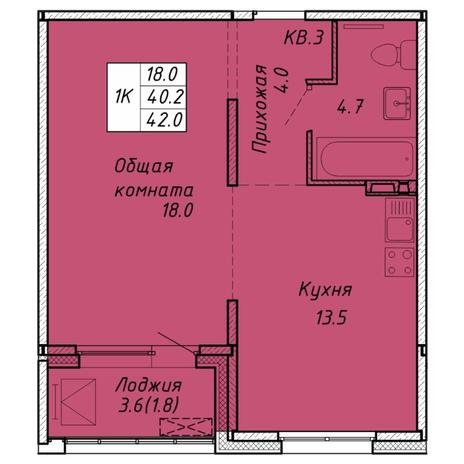 Вариант №6455, 1-комнатная квартира в жилом комплексе