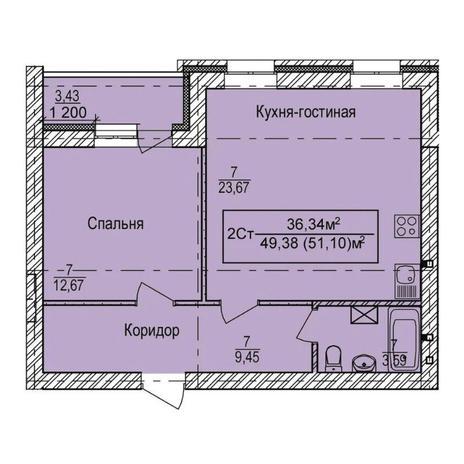 Вариант №3350, 2-комнатная квартира в жилом комплексе