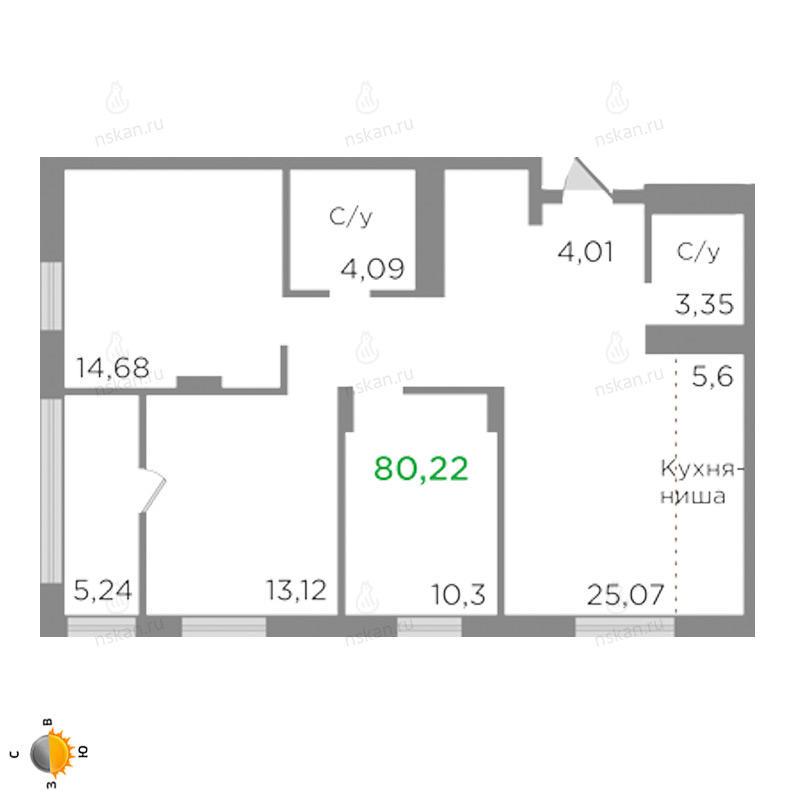 Планировка 4-комн. студия площадью 80.22 м<sup>2</sup> в ЖК Ясный берег