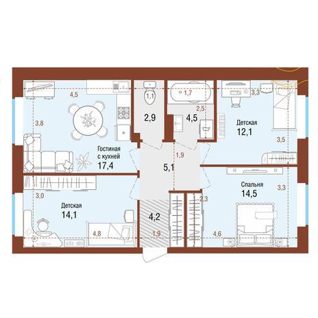 Вариант №4205, 4-комнатная квартира в жилом комплексе Одесса