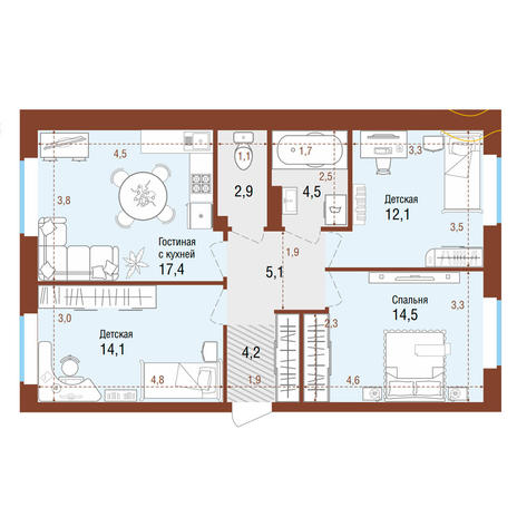 Вариант №4205, 4-комнатная квартира в жилом комплексе