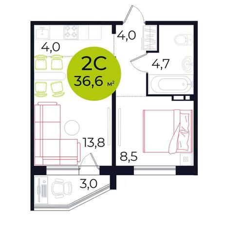 Вариант №5493, 2-комнатная квартира в жилом комплексе Сокольники
