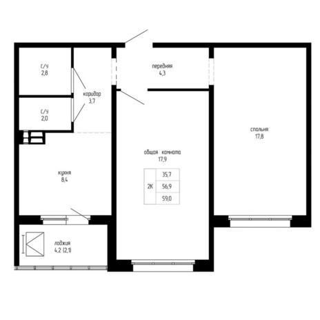 Вариант №5195, 2-комнатная квартира в жилом комплексе