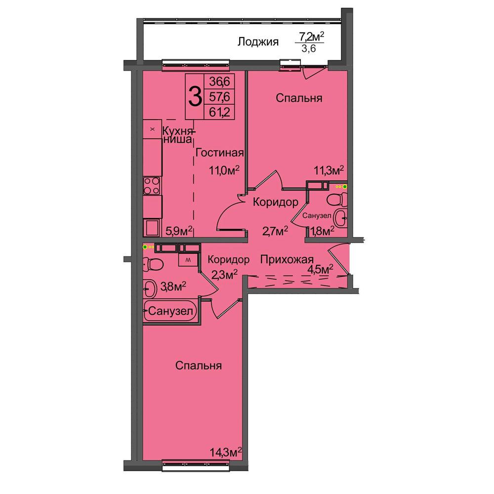 Планировка 3-комн. студия площадью 61.2 м<sup>2</sup> в ЖК Венеция