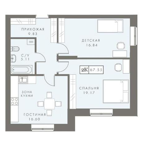 Вариант №2878, 3-комнатная квартира в жилом комплексе