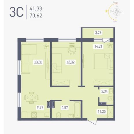 Вариант №4881, 3-комнатная квартира в жилом комплексе Радуга Сибири
