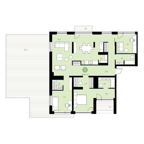 Вариант №4710, 4-комнатная квартира в жилом комплексе Европейский Берег