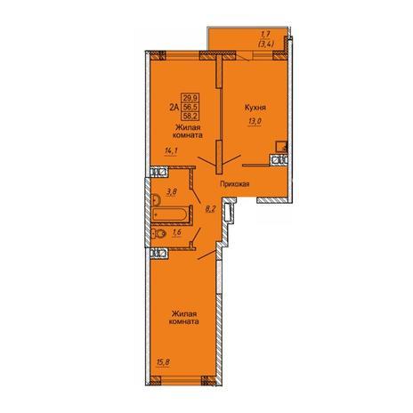 Вариант №5645, 2-комнатная квартира в жилом комплексе Матрешкин двор