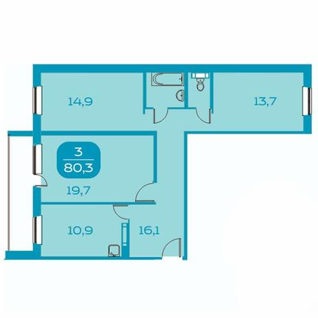 Вариант №4392, 3-комнатная квартира в жилом комплексе Аквамарин