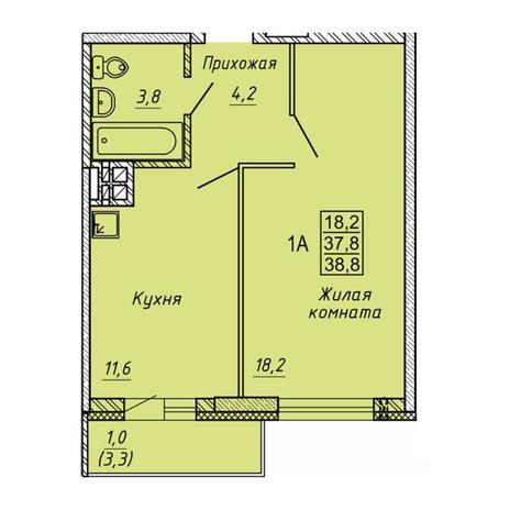 Вариант №5636, 1-комнатная квартира в жилом комплексе