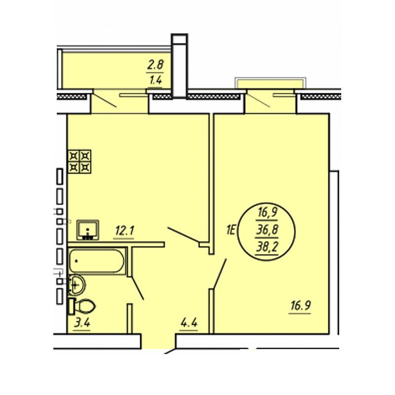 Планировка 1-комнатная площадью 38.2 м<sup>2</sup> в ЖК Свобода