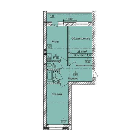 Вариант №3349, 2-комнатная квартира в жилом комплексе