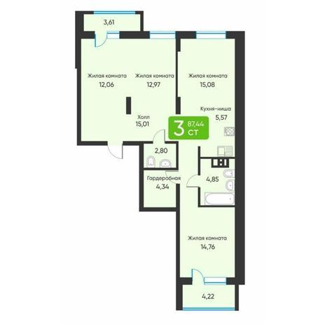 Вариант №5877, 3-комнатная квартира в жилом комплексе