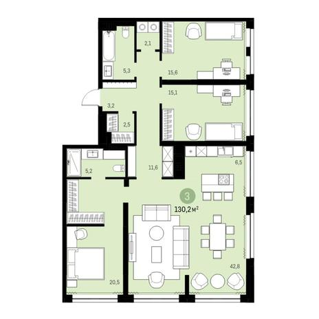 Вариант №6325, 4-комнатная квартира в жилом комплексе